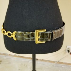 ESCADA Croc Patent Suede Gold Chain Belt Women's